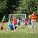 Voetballen op het sportveld
